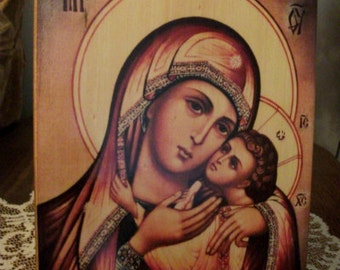 """Holy Mother of God, icon hand-painted of hot colors directly on solid wood 18x24x2 см ( 7.0""""x 9.6""""x0.8"""" ) (not brushes)!"""