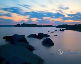 Stone Path ~ Oakland Beach, Warwick, Rhode Island, Seascape, Nautical, Coastal Decor, Artwork, Photography, Long Exposure, Narragansett Bay