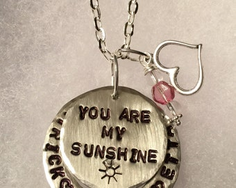 Personalized Hand Stamped Necklace You Are My Sunshine