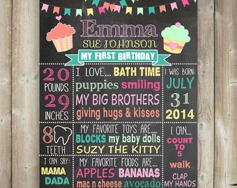 FIRST BIRTHDAY CHALKBOARD Sign - Milestone Poster - Chalkboard Poster - Cupcakes - Mint, Coral - Digital File - Printable
