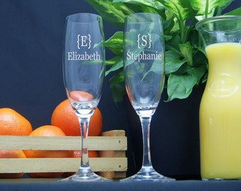 Personalized Champagne Glasses / Engraved / Etched / Bridesmaids Gifts / Wedding Champagne Flute / Champagne Glasses / 16 Designs