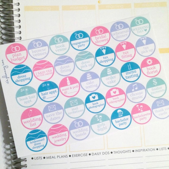 Wedding Planning Fun Circle Planner Stickers- 35 count
