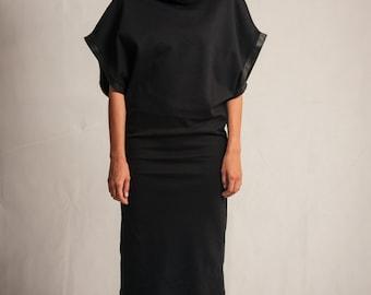 Black cotton midi dress / Extra big sleeves dress / Cowl neck dress / Leather details dress / Oversized dress / Fasada 1504