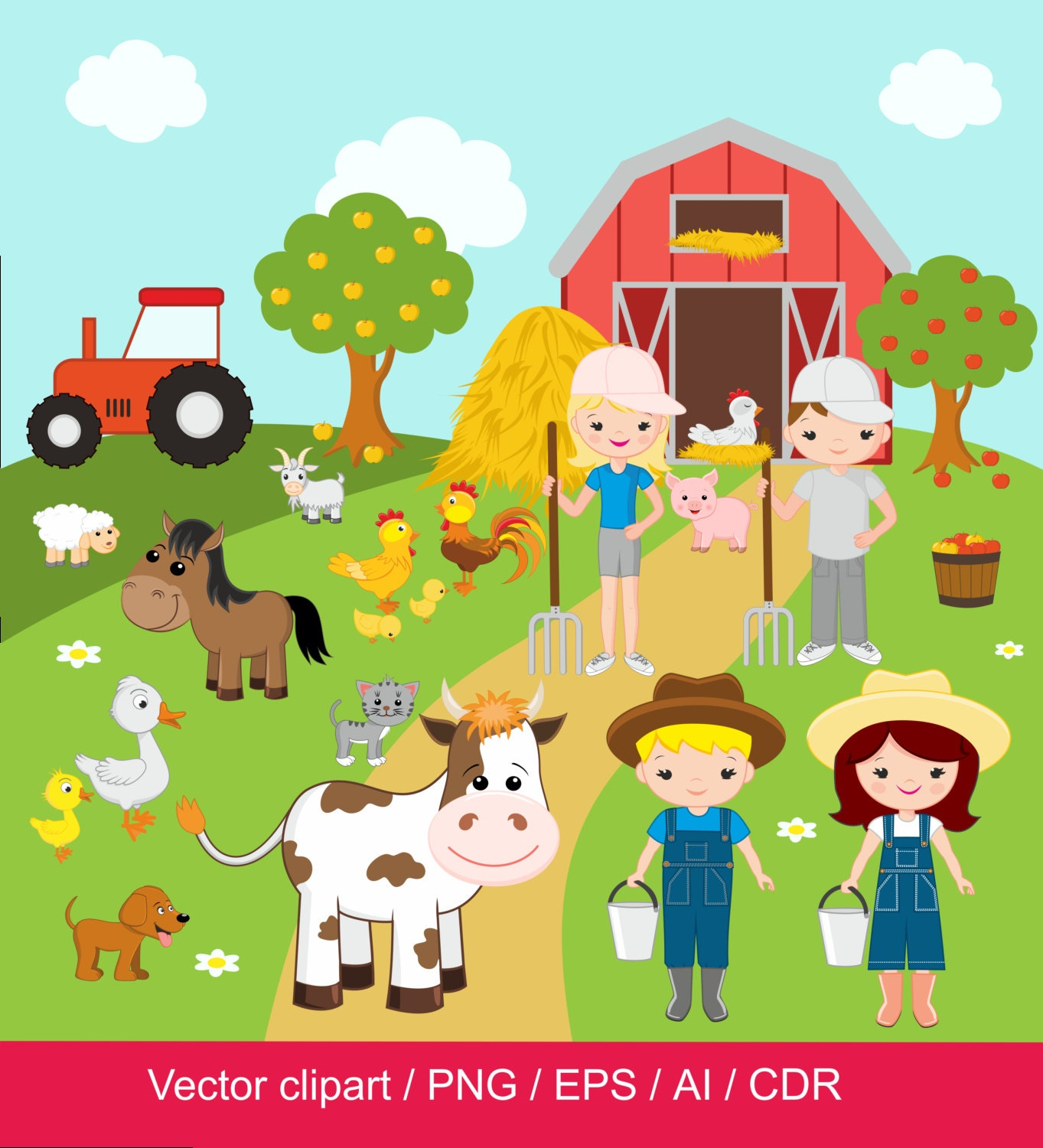 Farm Clipart Digital Clip Art Barnyard Animals Domestic For Commercial Use Png Eps