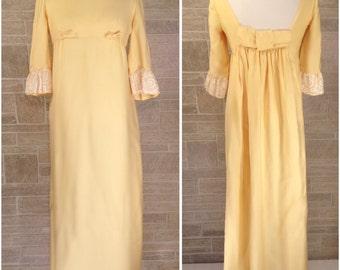 60s pale yellow full length Lorrie Deb dress - medium