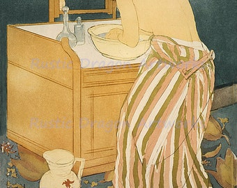 "Mary Cassatt ""Woman Bathing"" 1891  Reproduction Digital Print  Wall Hanging"