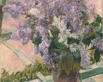 "Mary Cassatt ""Lilacs in a Window"" 1883 Reproduction Digital Print Flowers Lilacs Vase Wall Hanging"