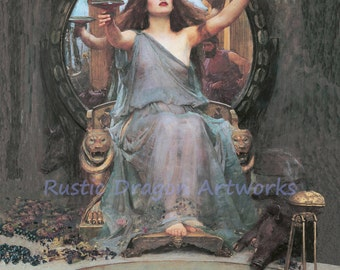 "John William Waterhouse ""Circle Offering the Cup to Odysseus"" 1891 Reproduction Digital Print Wicca Pagan Celtic"