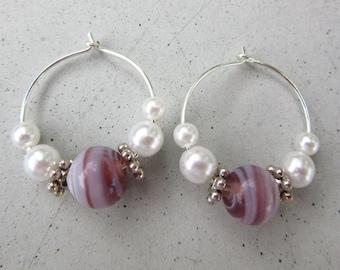 Purple Hoop Earrings Handmade Silver Plated Hoop Earrings Beaded Hoop Earrings