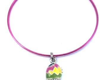 CLEARANCE SALE! Easter Bracelet - Easter Egg Charm Bracelet - Easter Bangle Set - Pink Jewelry - Stacking Bangles