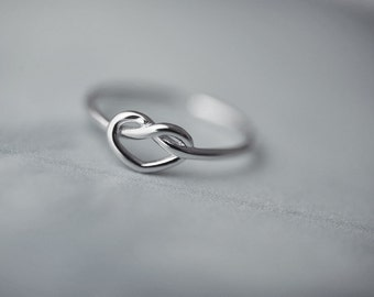 Heart Adjustable Ring-Love Knot Sterling Silver Open Ring Metalwork Ring Jewelry
