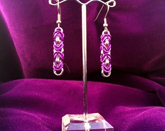 Violet & Silver Chainmaille Earrings - Aluminum - Byzantine - Chainmail Jewelry