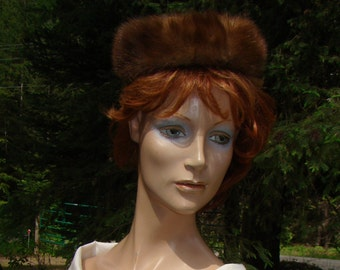 1960s Light Brown Mink Pillbox Hat