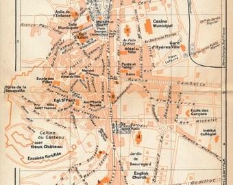 1926 Hyeres France Antique Map