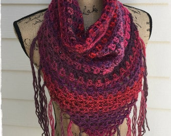 Lightweight Cowl with Fringe, Spring Cowl, Crochet Cowl, Lacy Cowl, Triangle scarf