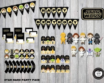 STAR WARS Party Pack. 76 PIECES Star Wars Party Package. Star Wars Birthday. Party Supplies. Printables. Clone Wars. Superhero Party