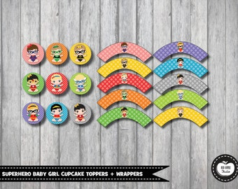 19x SUPERHERO BABY GIRL Cupcake Toppers Cupcake Wrappers Superhero Baby Shower Party Favors Wonder Woman First Birthday Party Supplies