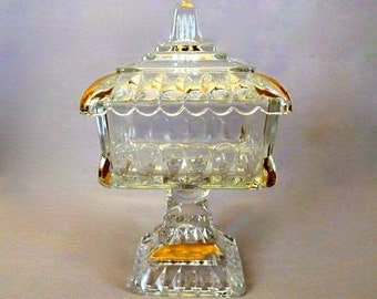 Vintage Pedestal Candy Dish with Lid