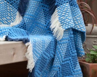 Vintage Woven Crochet Blanket • Unique Blue and White Crochet Blanket 55 x 41