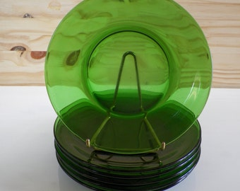 4 soup plates VERECO green glass   Made in France 1960