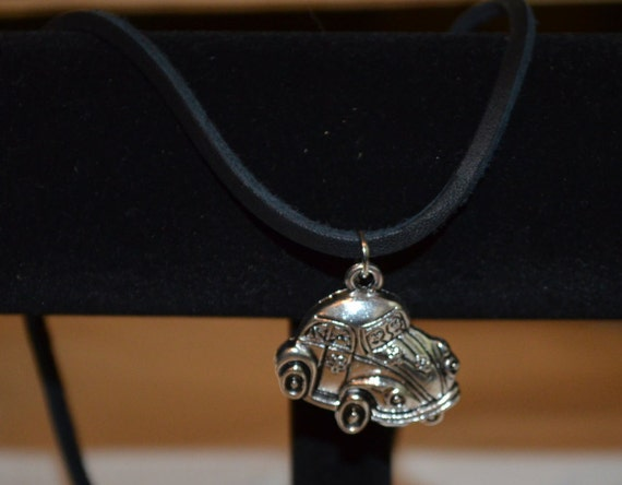 Necklace VW Beetle on Leather Cord