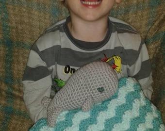 crochet whale lovey blanket