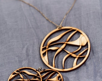 Wood Earrings and Necklace Set