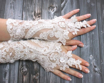 White Lace Wedding Gloves Shiny Beaded, Lace mittens, French Lace Long Gloves, Gothic Lace Gloves, Bridal Wedding
