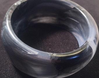 Black and white marbled bangle