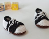 Crocheted Infant Saddle Oxfords // Vintage Style Baby Shoes
