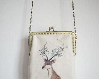 Gift for her,Vintage Elk Metal frame purse/coin purse / handbag /Pouch/clutch/tote bag/ Kiss lock frame bag