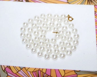 """Pearl Necklace - White / Pearl Strand / Pearl Strand Necklace / Pearl Bead Strand - 22 1/2"""" - item no P238"""