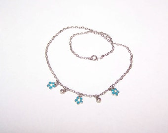 Blue Necklace / Flower / Flowers Necklace - Sweet / Dainty / Feminine / Silver / Blue / White