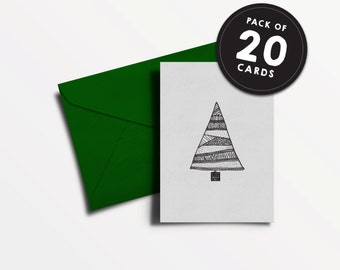 Pack of 20 - Recycled Christmas Card - Hand drawn illustrated Christmas Tree - greyboard patterned ink pen funky xmas tree cards