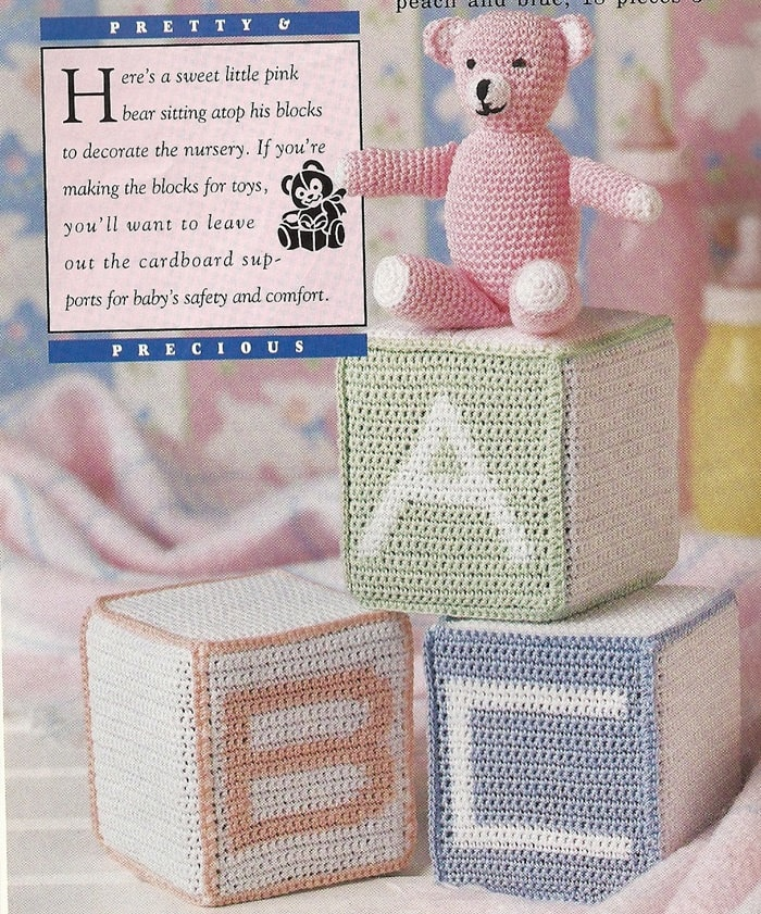 Free Easy Crochet Patterns For Baby Toys : Baby Blocks and Bear Vintage Crochet Pattern 5 by ...
