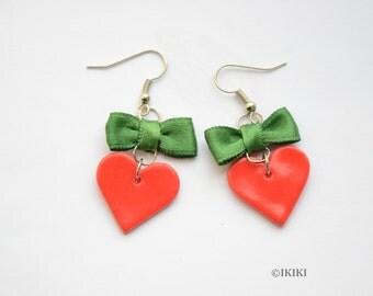 SALE Christmas Earrings, Red Heart Earrings, Dangle Heart Earrings, Polymer Clay Hearts, Red and Green Earrings, Bow and Heart Earrings