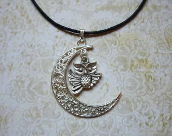 Silver Moon and Little Owl Necklace Moon Jewelry Fantasy Necklace Crescent Moon Necklace
