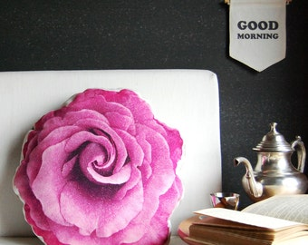 Magenta Pillow, unique accent pillow, hot pink rose,  home decor, trow pillow, decorative pillow, purple pillow, rose pillow, floral pillow