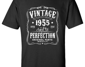 62nd Birthday Gift For Men and Women - Vintage 1955 Aged To Perfection Mostly Original Parts T-shirt Gift idea. More colors available N-1955