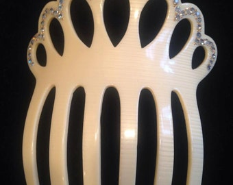 Vintage 1940's Celluloid Hair Comb with Rhinestones