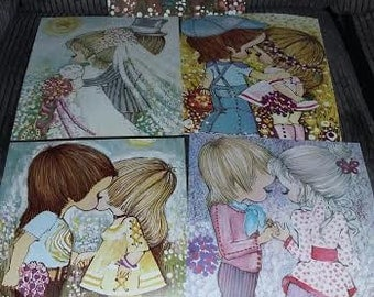 """Vintage """"Young Love"""" lithographs set of five  early 1970's"""
