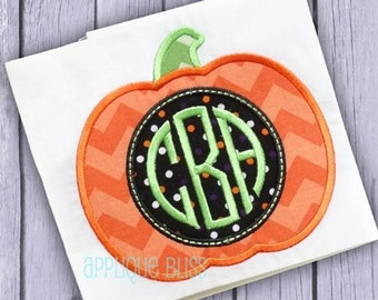 Monogram Pumpkin Digital Halloween Applique Design - Halloween - Machine Embroidery -  Halloween Embroidery Design - Download