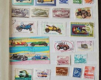 32 CARS TRANSPORT Vintage International Postage Stamps - Scrapbooking - Card Making - Collecting