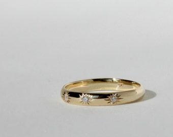 Three diamonds gold ring, Three stones ring, Simple wedding ring, Simple diamond ring, 14k gold ring, Stacking ring,Valentines Gift