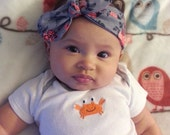 Baby Headband, Infant Headband, Baby Headwrap, Cotton Jersey Blend Knit Headband, Coral Peach Floral on Gray Knotted Bow Headband