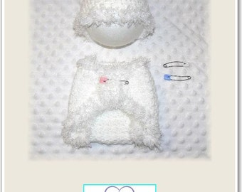 Newborn Baby Crocheted White Beanie & Nappy Cover with Fluffy Edging and Nappy Pins