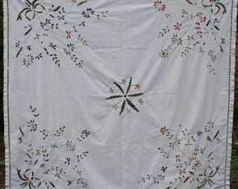 "Colorful cut-out cotton embroidered square tablecloth 65"" x 66"" flowers"