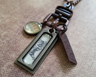 """Sale! Tim Holtz' """"Admit One"""" tag, Buckle, BINGO tag, & Burgundy Tag by Industrial Chic Charm Necklace with 35"""" Tim Holtz Copper Ball Chain"""