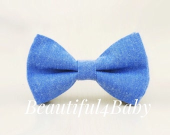Chambray Bow Tie, Baby Bow Tie,Baby Bowties, Blue Bow Tie, Blue Bow Ties, Toddler Bow Ties, Blue Chambray Bow Tie