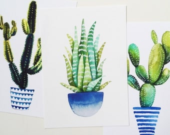 Set of three cactus/succulent prints of watercolor. Blue/navy striped, ombre, geometric bases. Nature, botanical, art drawing illustration